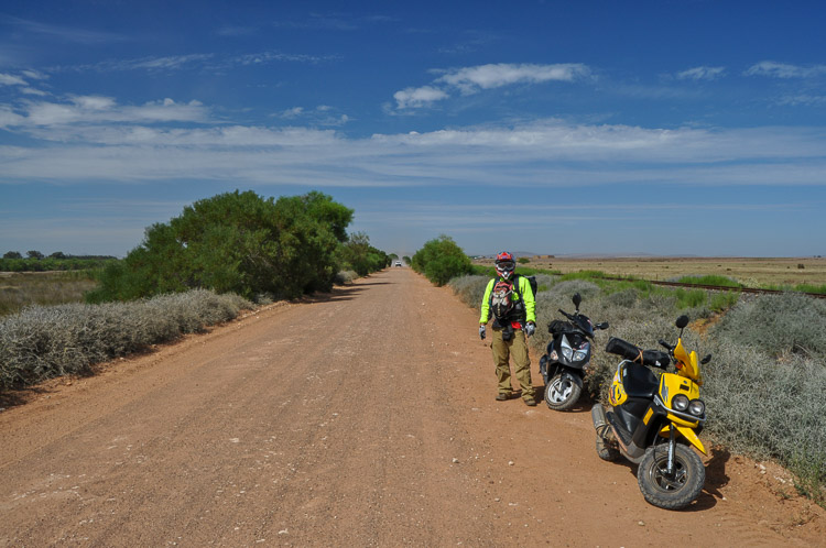 The PGO 125 TRex and Yamaha BWizz 100 on the gravel just outside Darling, Western Cape, South Africa